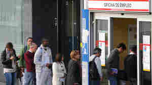 The line outside an employment office in Madrid last October. Spain's economy has been among the hardest hit in Europe.
