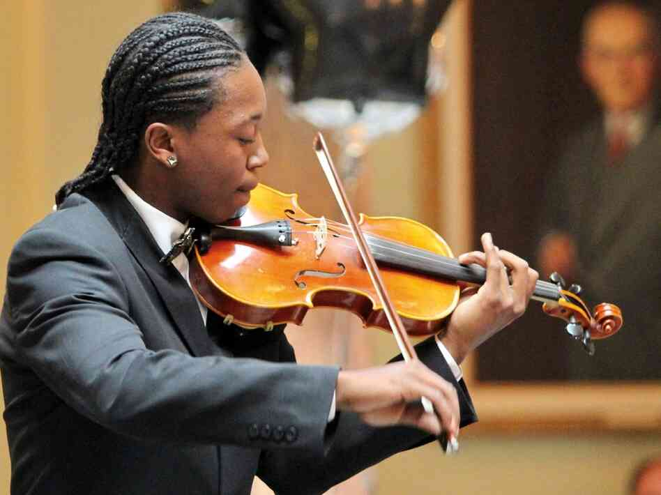 Johnny Linton, a music student, performs at the Gateways Music Festival's Youth Showcase Concert