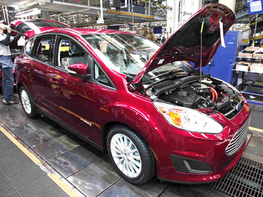 A Ford C-MAX hybrid vehicle goes through assembly at the Michigan Assembly Plant in Wayne, last November.