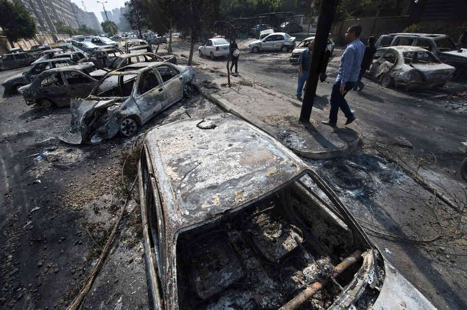 The destroyed camp of Morsi supporters outside the Rabaa al-Adawiya mosque. The raids prompted the