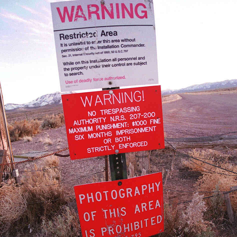 Don't go there: A warning sign marks the boundary of Area 51 in Nevada.