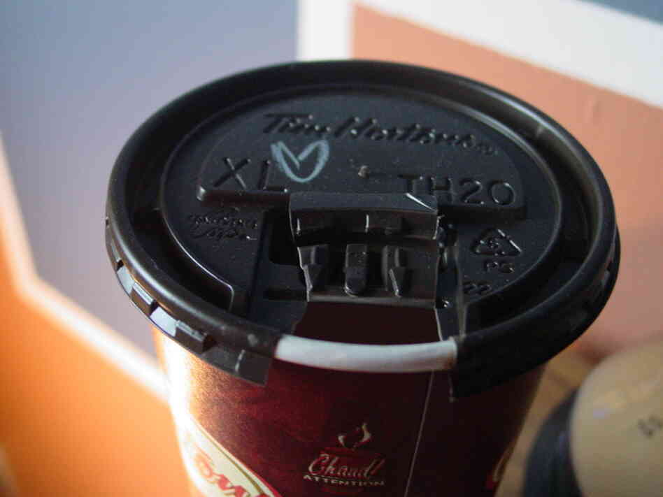 A Tim Hortons coffee cup.