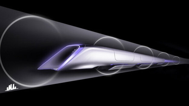 A rendering of the proposed Hyperloop's passenger transport capsule.
