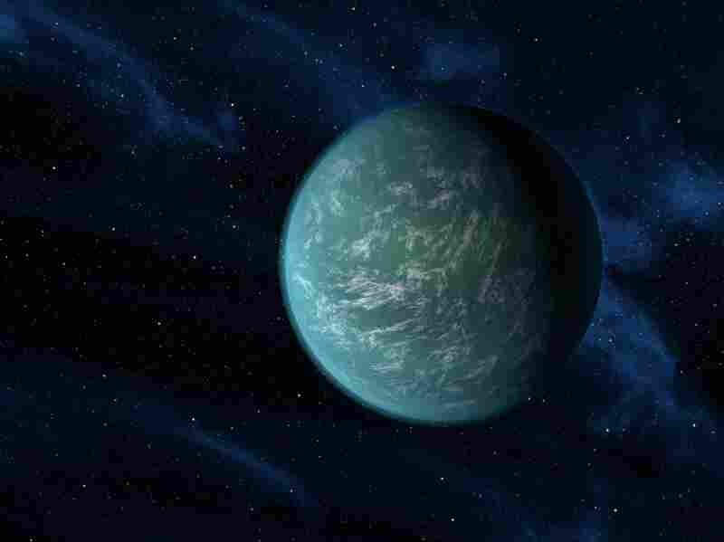 "An artist's illustration of Kepler-22b, a planet that circles its star in the ""goldilocks"" zone."