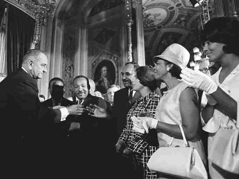 Martin Luther King Jr. attends Lyndon B. Johnson's signing of the Voting Rights Act on Aug. 6, 1965. During this time, the drug war was expanding.
