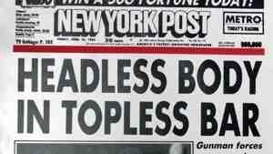 The New York Post's famous April 1983 headline.
