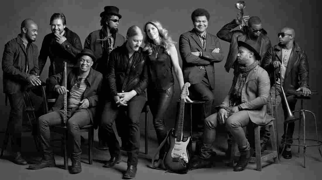 Derek Trucks and Susan Tedeschi (center) are the musical power couple at the core of Tedeschi Trucks Band.