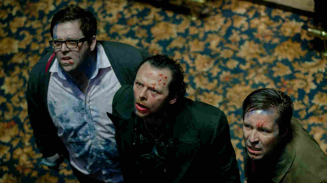 "Nick Frost as Andy, Simon Pegg as Gary and Paddy Considine as Steven in The World's End, a film that critic Joel Arnold says ""shines in so many successful bits."""
