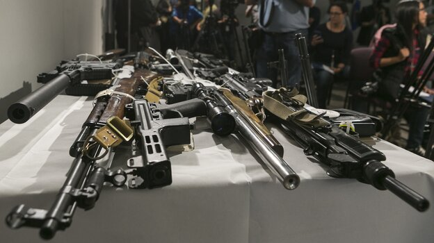 Firearms seized during a sweep by the Los Angeles Police Department us