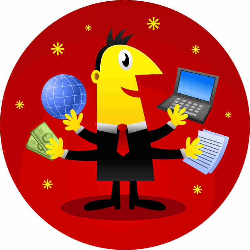 An illustration of a smiling man juggling multiple tasks with multiple arms.