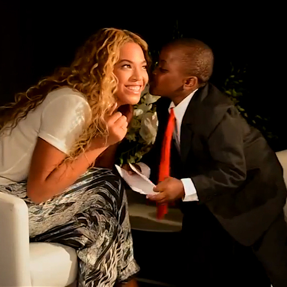 Beyonce and Kid President end their discussion of World Humanitarian Day with a kiss on the cheek, in this image taken from a video promoting the U.N. event.