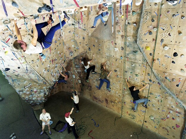 The climbing wall at Miami University in Oxford, Ohio. Such amenities have been cited as evidence of wasteful spending on college campuses.