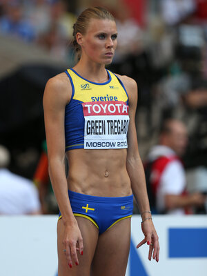 Sweden's Emma Green Tregaro sports red nails as she waits to compete in the women's high jump final at the 2013 IAAF World Championships in