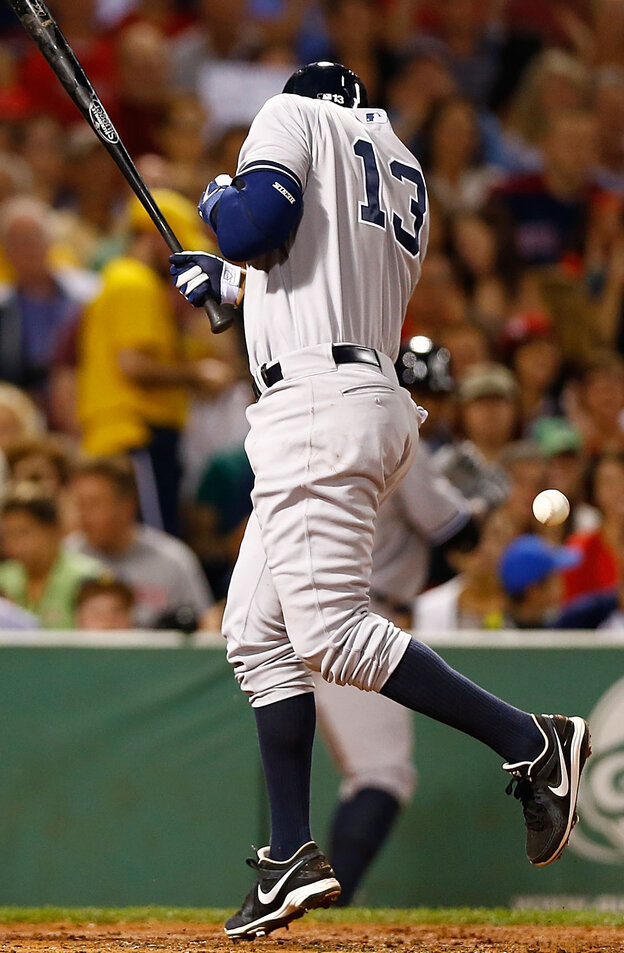 New York Yankee Alex Rodriguez is hit by a pitch in a game against the Boston Red Sox in Boston on Sunday.