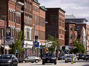 The view down Main Street in Concord, N.H., reflects the community's small-town feel. Author Ben Winters doesn't live in Concord, but he sets his mystery novels there — he says the city's peaceful, unpretentious atmosphere makes it an appealing setting.