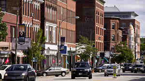 The view down Main Street in Concord, N.H., reflects the community's small-town feel. Author Ben Winters doesn't live in Concord, but he sets his mystery nov