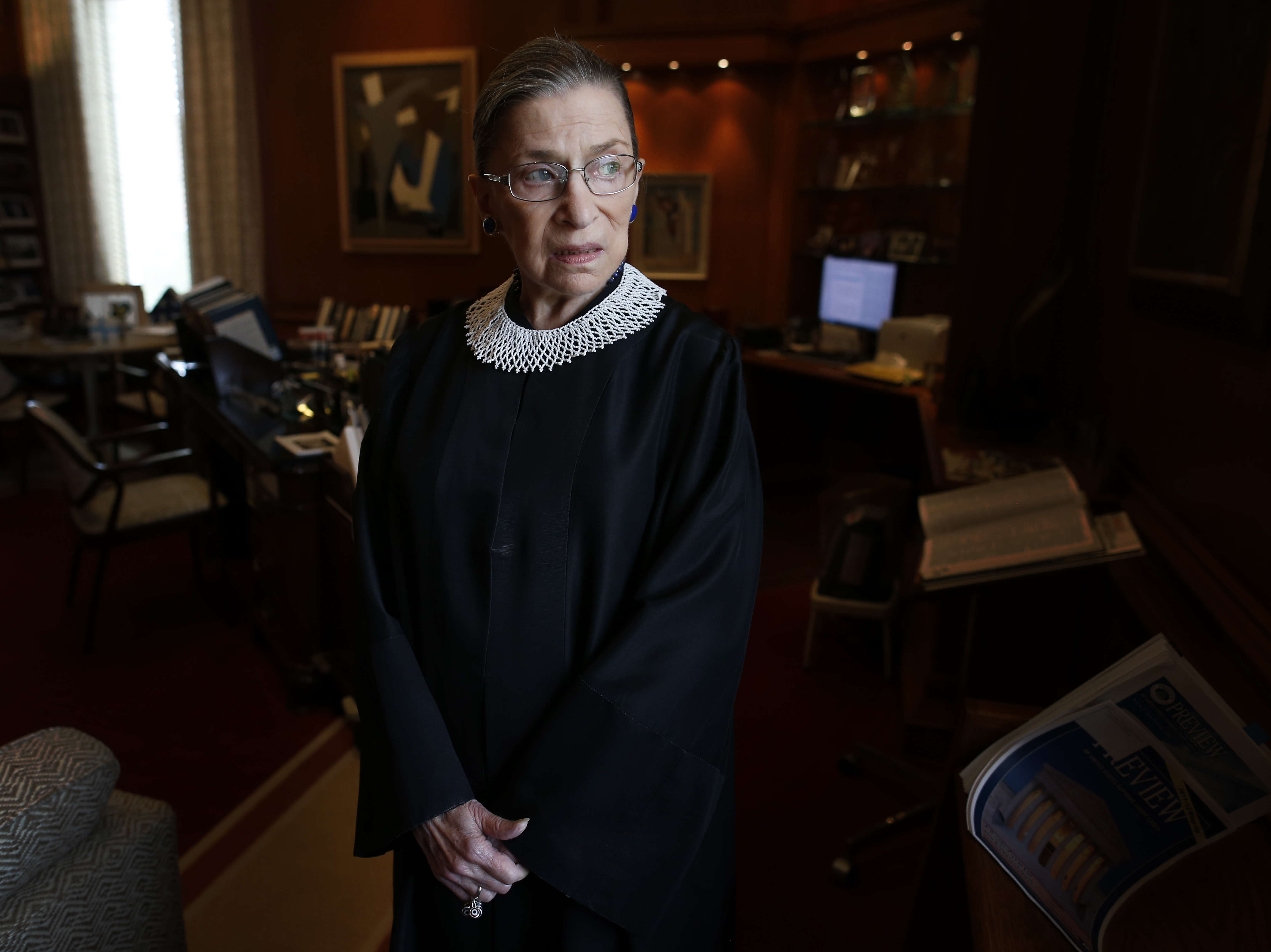 Justice Ruth Bader Ginsburg in her chambers at the Supreme Court on July 24, 2013.