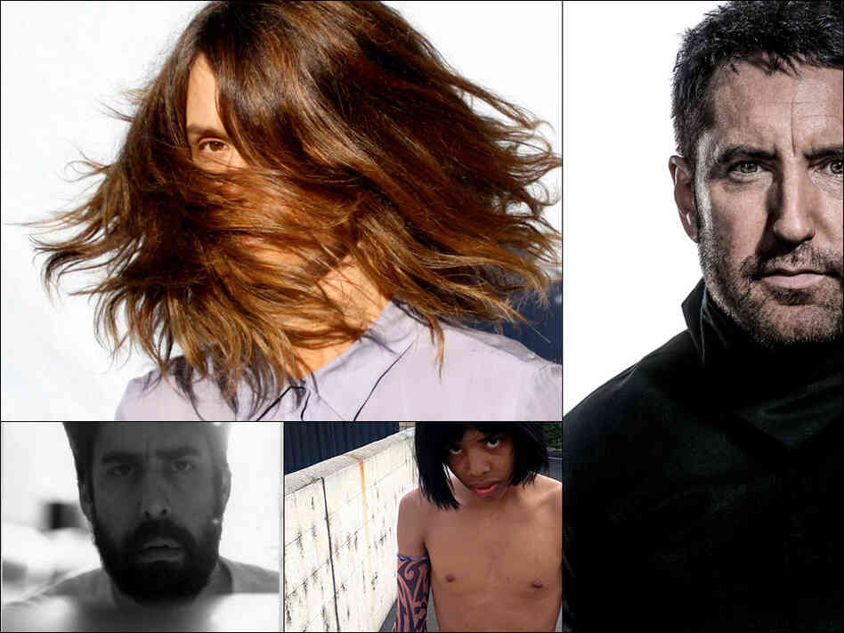 Clockwise from upper left: Juana Molina, Trent Reznor of Nine Inch Nails, Earl Sweatshirt, The Goldberg Sisters (Adam Goldberg)