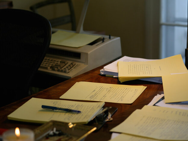 Elmore Leonard's writing desk at his home in Bloomfield Village, just outside Detroit. He wrote each page of his books by hand on canary yellow paper.