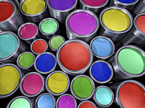 Colorful paint cans.