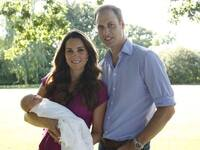 Prince George and his parents, in the baby's first