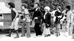 Sly & The Family Stone in Croton-on-Hudson, N.Y., in 1968. Left to right: Sly Stone, Cynthia Robinson, Freddie Stone, Rose Stone, Jerry Martini, Larry Graham.