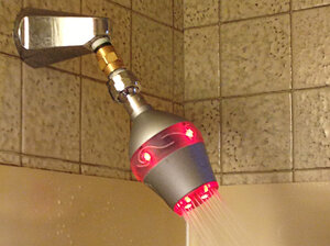 The Uji shower head will be available for sale in early 2014. Its light turns from green to red as the shower progresses.