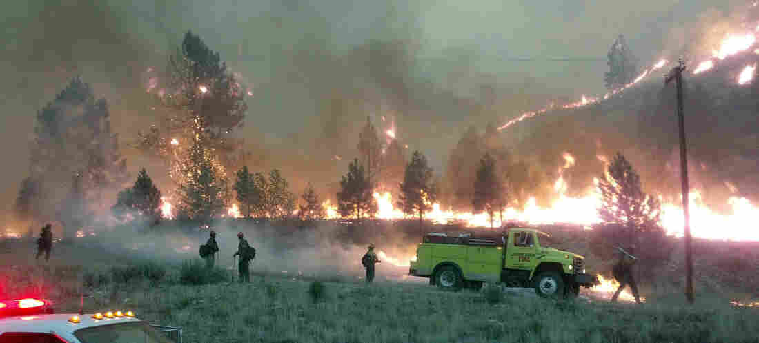 Firefighters stand watch near the perimeter of the Elk Complex fire near the small mountain community of Pine, Idaho, on Aug. 12. The lightning-caused fire is one of many burning through states in the Western U.S.