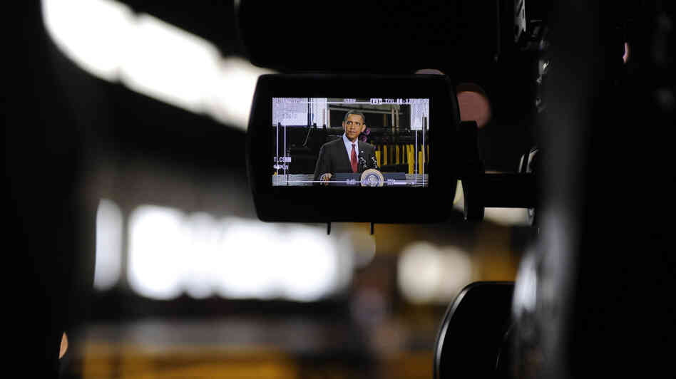 President Obama is seen on a video camera as he delivers a speech in Youngstown, Ohio, in 2010. In addition to footage of official events, the White House now has thousands of hours of behind-the-scenes video that it will archive.