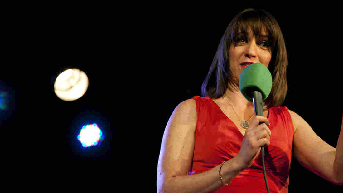 Host Ophira Eisenberg warms up the crowd with some of her comedy routine during a live taping of Ask Me Another at The Bell House in Brooklyn, NY.