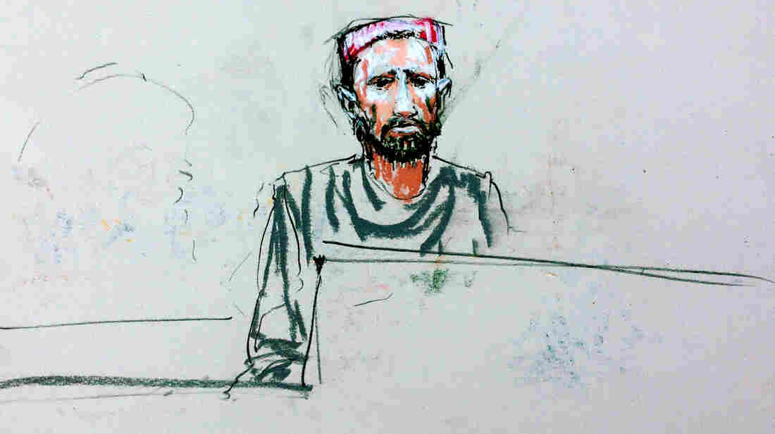 A courtroom sketch shows an Afghan man named Faizullah testifying in a courtroom at Joint Base Lewis-McChord, Wash., on Tuesday. His father and brother were shot and wounded when Staff Sgt. Robert Bales attacked their village in Kandahar province last year.