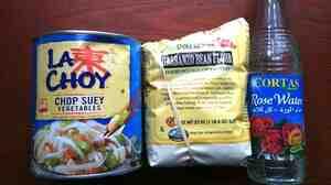 Chop suey veggies, garbanzo bean flour and the rose water