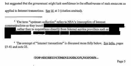 An image taken from the FISA court opinion released Wednesday. The document reveals instances in which the court saw the NSA overstepping in its surveillance efforts.