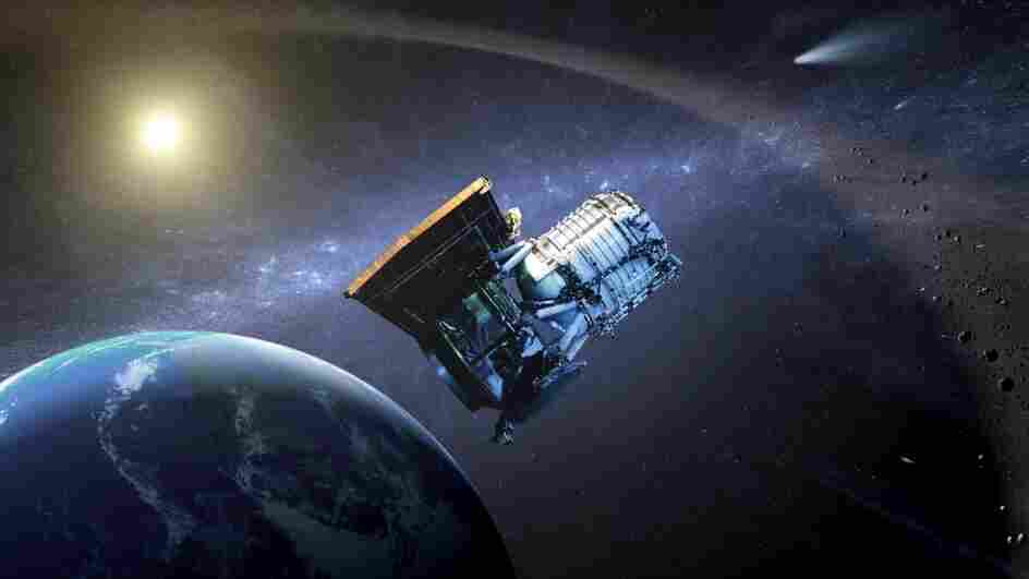 This artist's drawing shows the Wide-field Infrared Survey Explorer, or WISE spacecraft, in its orbit around Earth.