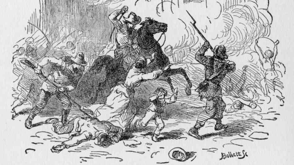 This illustration depicts the bloody sacking of Lawrence, Kansas by the Quantrill Raiders on Aug. 21, 1863.