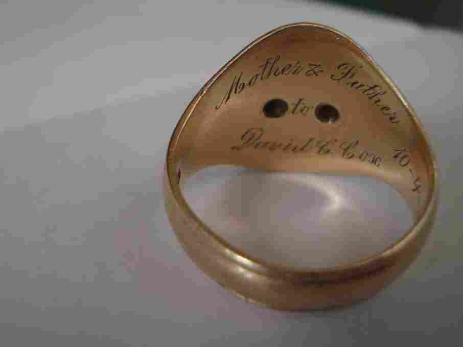 The ring that finally found its way home after nearly 70 years. David Cox, an American pilot, traded it for some food while he was a prisoner of war in Germany.