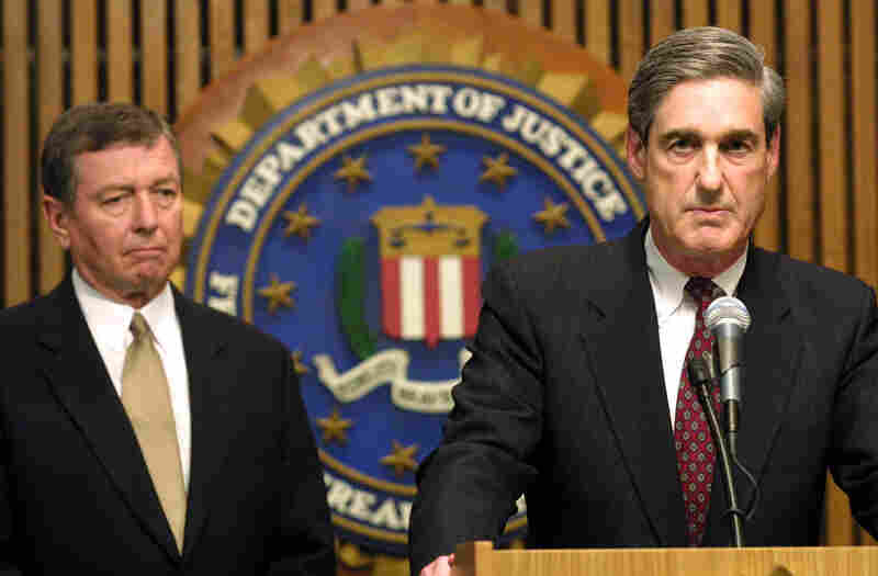 FBI Director Robert Mueller had been on the job just a week before the terrorist attacks of Sept. 11, 2001. On Sept. 12, he took questions from reporters with U.S. Attorney General John Ashcroft about the investigation.