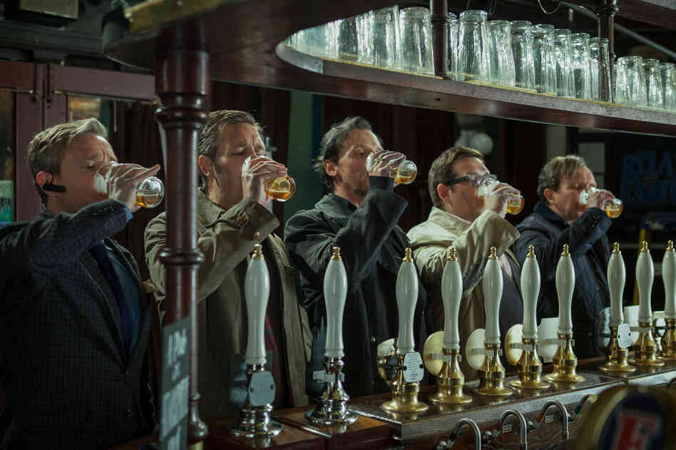 Martin Freeman (from left), Paddy Considine, Simon Pegg, Nick Frost and Eddie Marsan star as five old high school friends who reunite to finish an epic pub crawl in The World's End, directed by Edgar Wright.