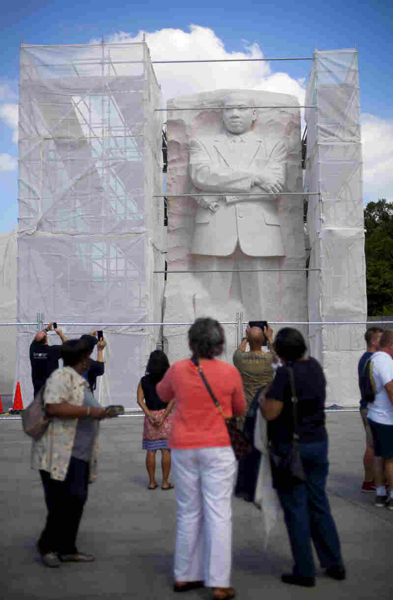 Under Construction: A recent survey of Americans found that fewer than half believe the U.S. has made substantial progress toward racial equality. Here, the Martin Luther King Jr. Memorial in Washington, D.C., is boxed in by scaffolding as work is done on it.