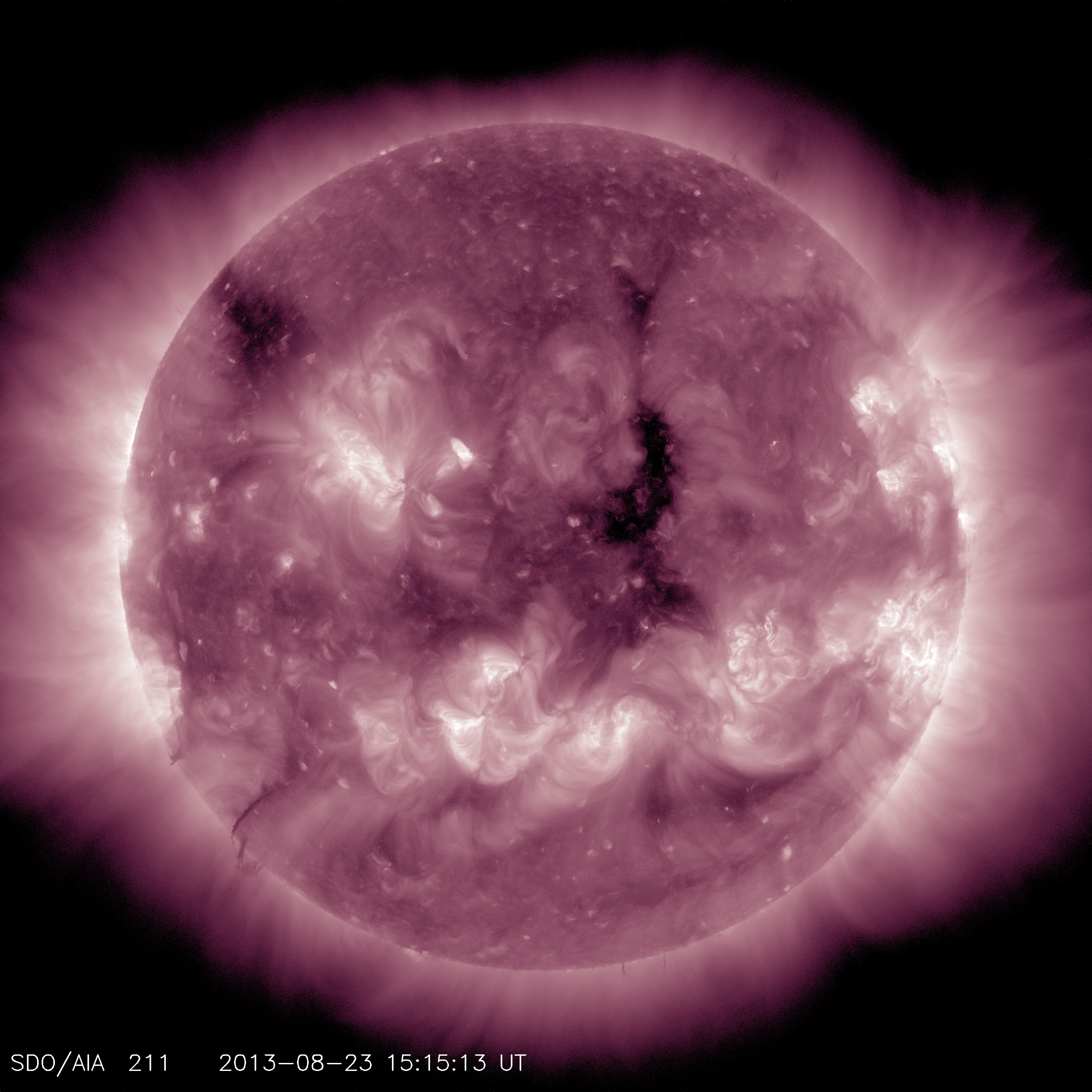 This channel highlights the active region of the outer atmosphere of the sun -- the corona. Active regions, solar flares and coronal mass ejections appear bright here.