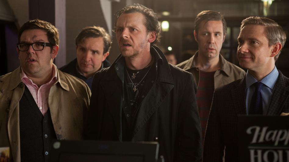 Nick Frost (from left), Eddie Marsan, Simon Pegg, Paddy Considine and Martin Freeman play a group of friends who reunite for a pub crawl challenge in <em>The World's End</em>.