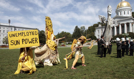 Bread and Puppet performs during a rally on the Statehouse lawn on Aug. 24, 2011 in Montpelier, Vt.