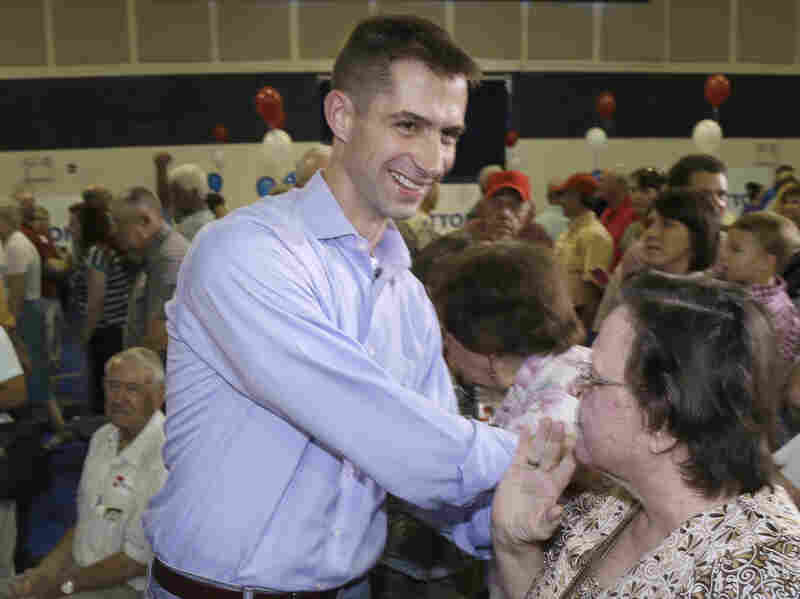 Rep. Tom Cotton, R-Ark., greets supporters in Dardanelle, Ark., on Aug. 6, after announcing that he would seek the U.S. Senate seat held by Democrat Mark Pryor.