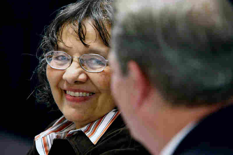 Civil rights activist Diane Nash listens the former Vice President Al Gore after the Freedom Awards Public Forum at Temple of Deliverance in Memphis. Gore and Nash were honored, along with musician B.B. King, for the 2008 Freedom Awards.
