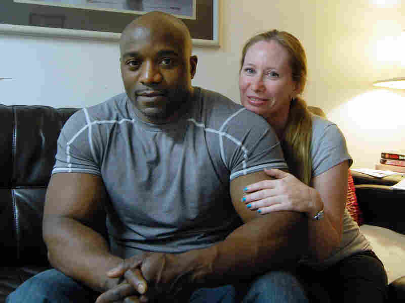 Troy Wallace with his wife, Lynda.  Wallace is suing Suffolk County, N.Y., contending its new sex offender monitoring law violates his civil rights.