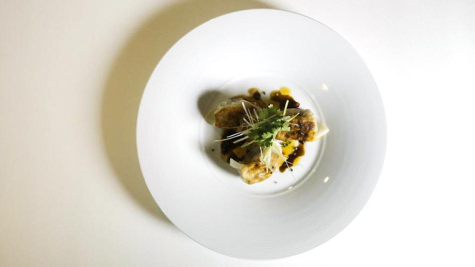 A potsticker prepared by Chef Scott Drewno at the Washington, D.C., restaurant The Source. (Heather Rousseau for NPR)