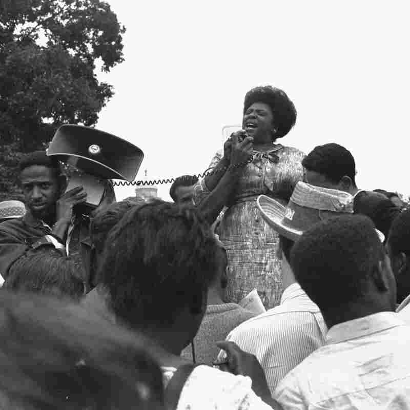 Mrs. Fannie Lou Hamer of Ruleville, Miss., speaks to the state's Freedom Democratic Party sympathizers outside the Capitol in Washington, D.C., in 1965.