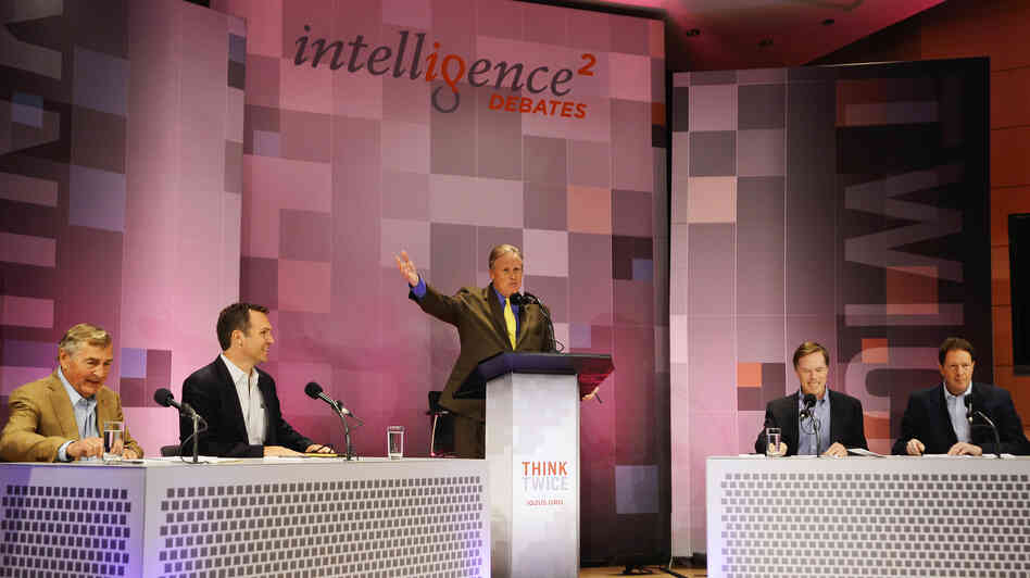 John Donvan moderates an Intelligence Squared U.S. debate on Sy