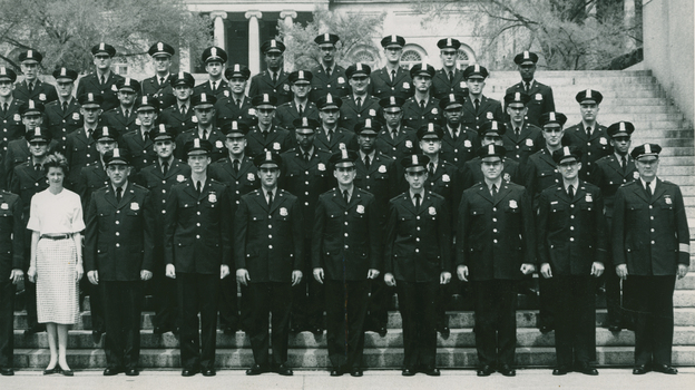 Joseph Burden (third row, third from right) with his graduating class at Washington, D.C.'s Metropolitan Police Department training academy in 1960. Every officer on the force was required to work the day of the March on Washington. (Courtesy of Joseph Burden)