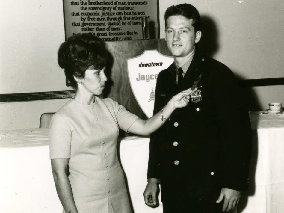 "Martin Niverth with his wife Nancy, when Martin was named ""officer of the month"" in 1964. (Courtesy of Martin Niverth)"
